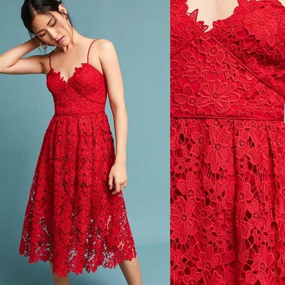 597e596ee73d Anthropologie Dresses | Nwt Donna Morgan Scarlet Lace Dress | Poshmark